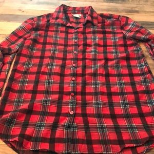 Flannel print top